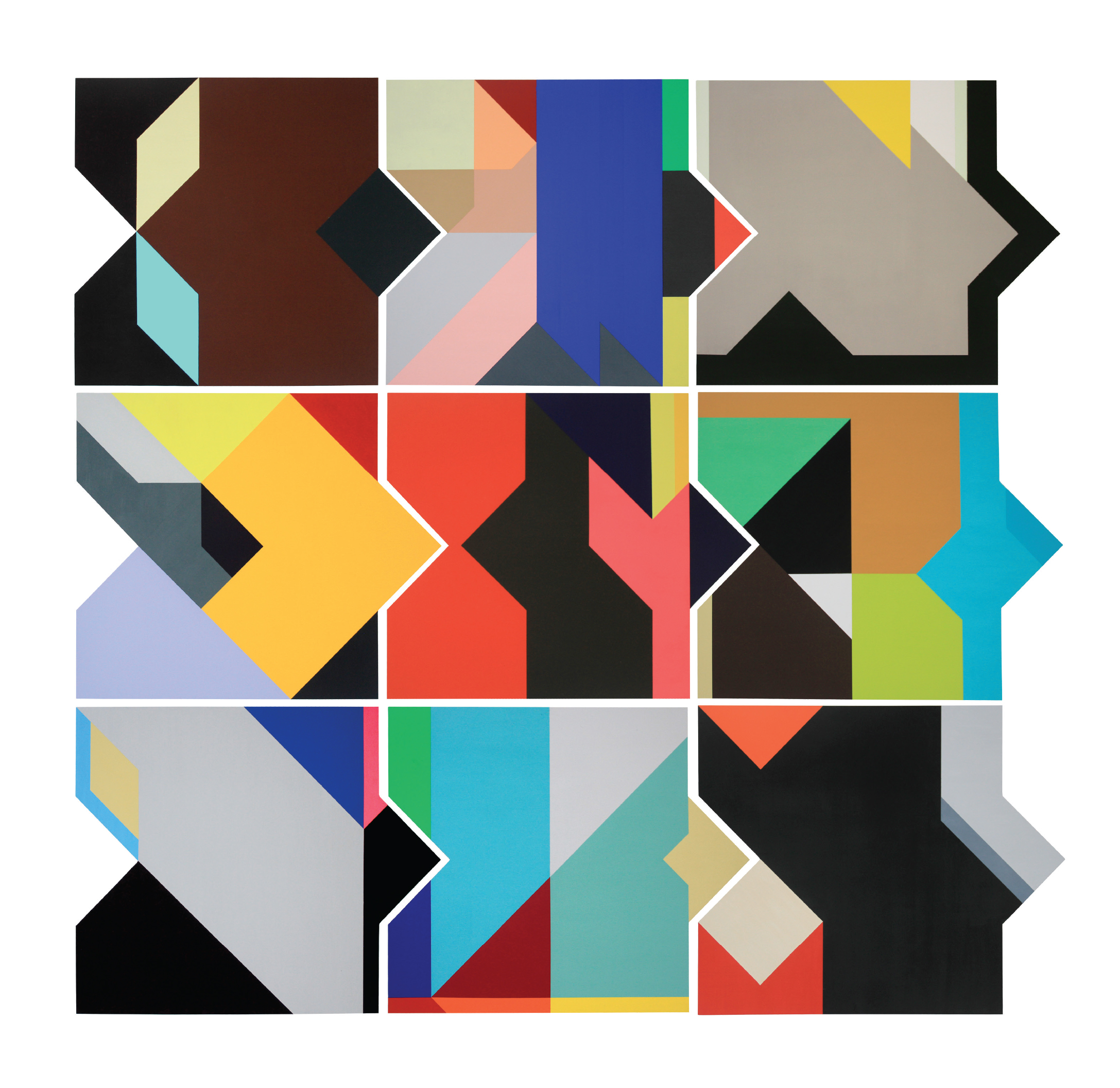 Give us a second - Series of 9 medium size paintings on interconnecting ply wood panels available at www.eyestorm.com read a feature for Eyestorm magazine about these pieces here - Introducing Colour Abstract PaintingsMedium: Acrylic Gouache on ply wood panelYear: 2018Size: 60cm (w) x 50cm (h)(All panels from any series can interlock in some way)Signed and stamped by the artist.