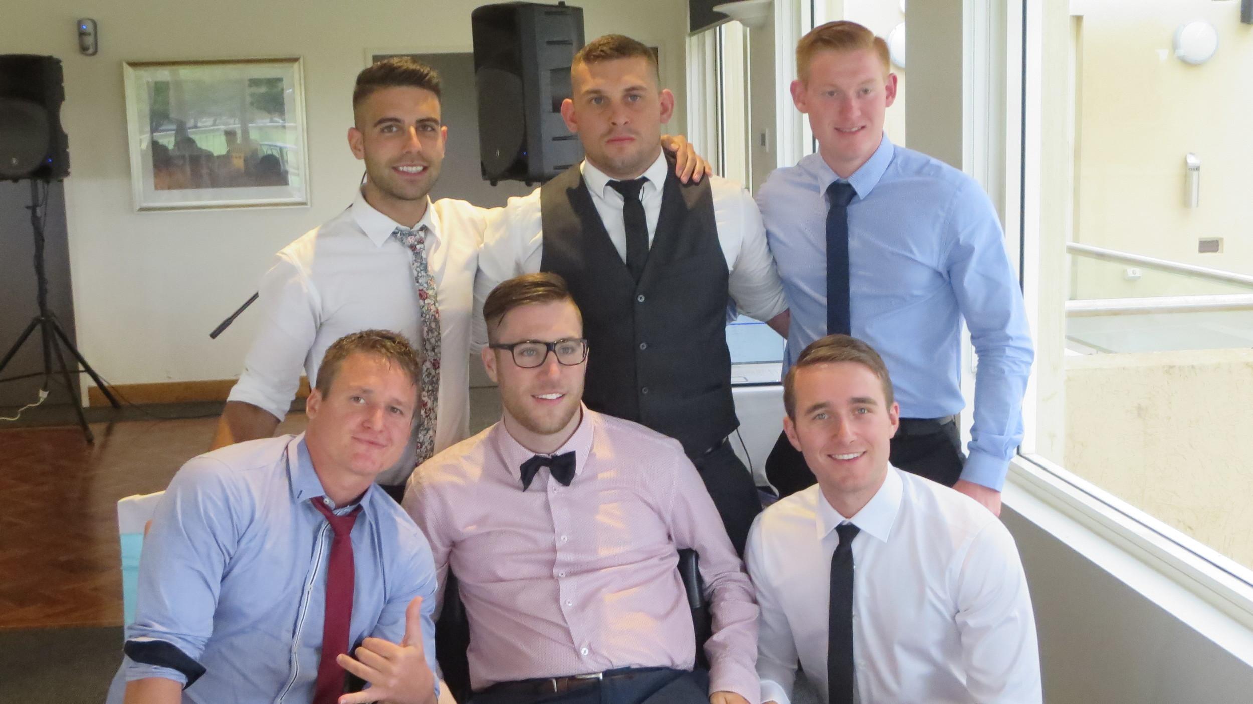 Mates at the wedding