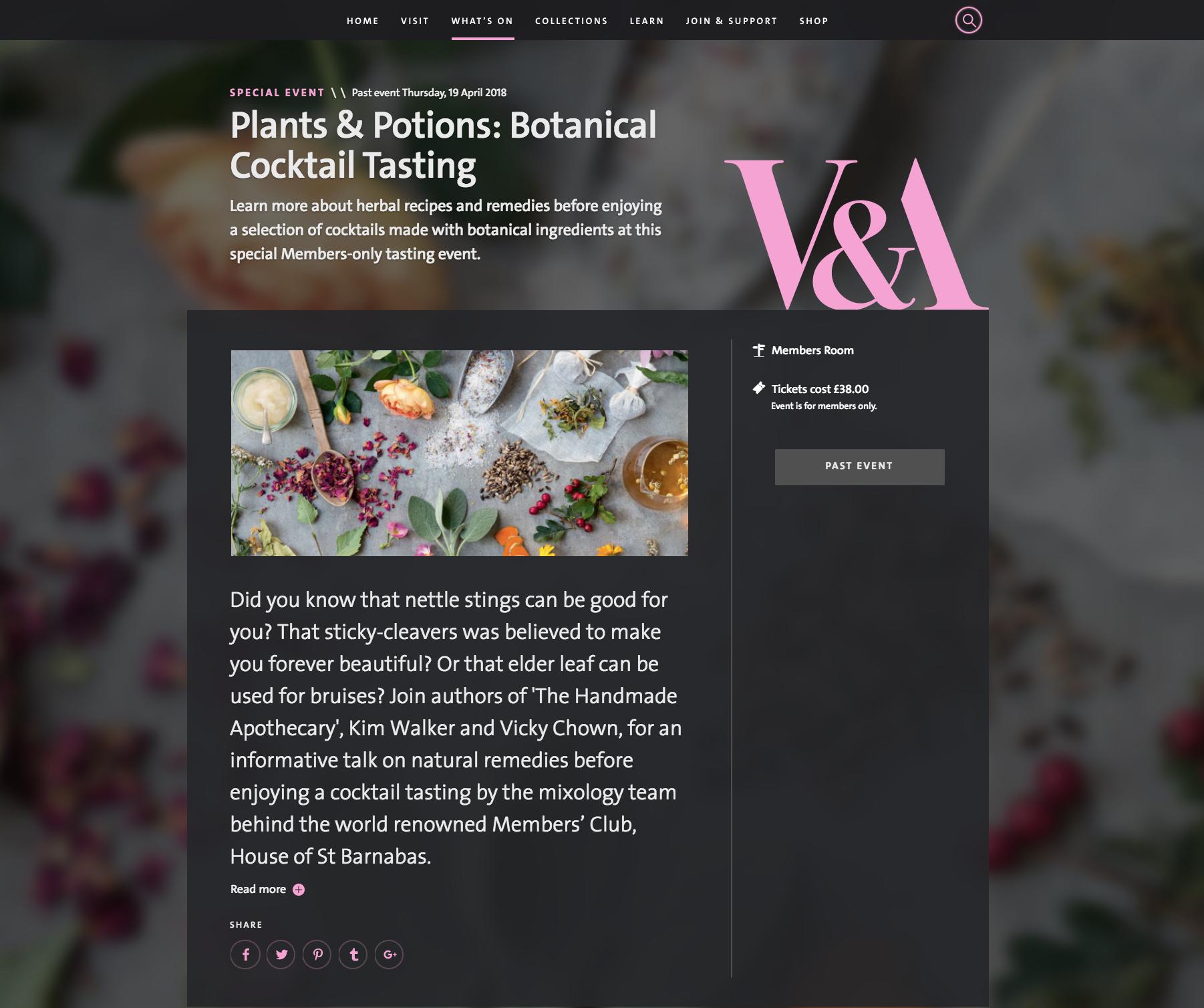 Victoria & Albert Museum Plants & Potions Botanical Cocktail Tasting 19/04/18