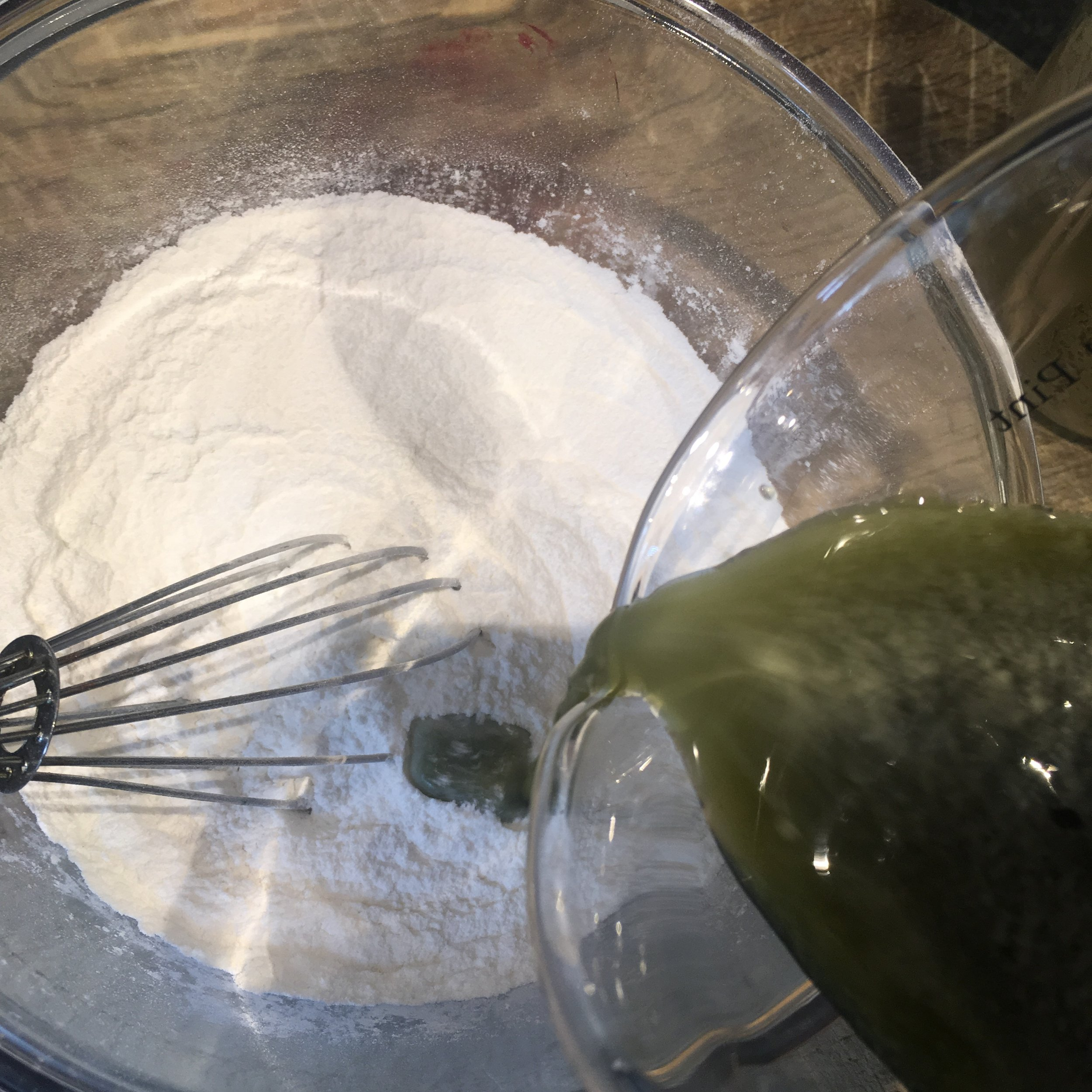 Whisk the liquid briskly into the dry mixture -