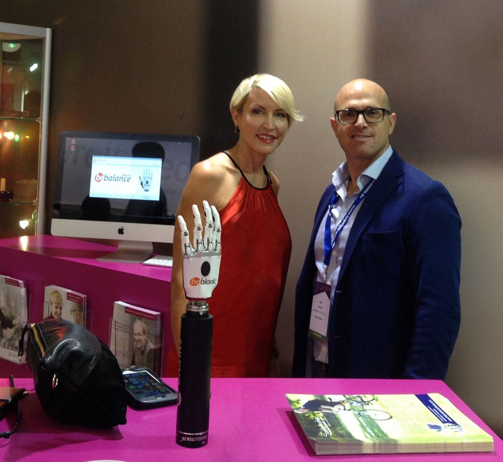 Heather &Abdo Haidar catch up at the  Lyon prosthetic show.