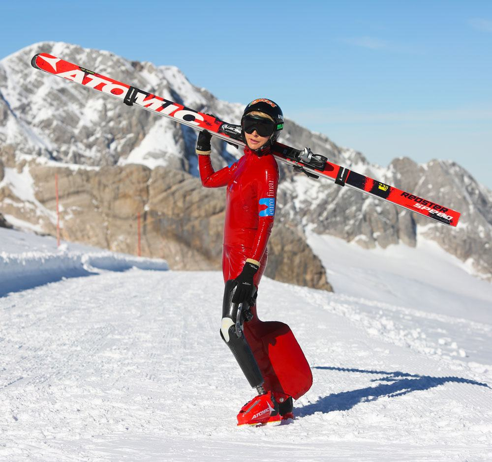 Heather wearing a custom build prosthetic limb specifically made for speed skiing. It just goes to show anything is possible!