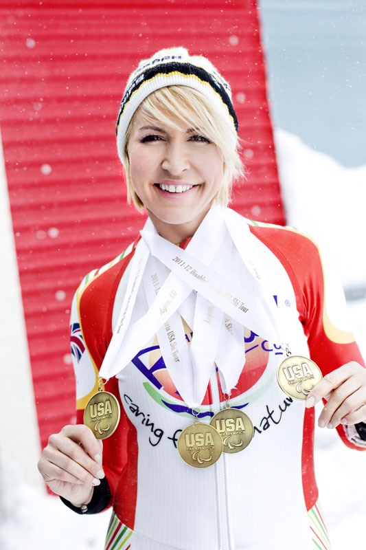 Proudly wearing the 4 Gold Medals Heather won at Aspen in the USA for the Super G and Downhill ski events.