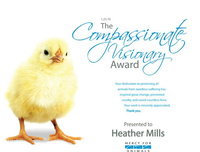 2010 Compassionate Visonrary Award presented to Heather Mills
