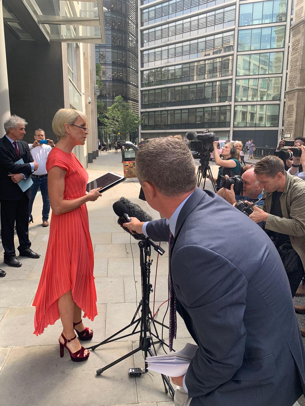 Heather Mills speaking in London.