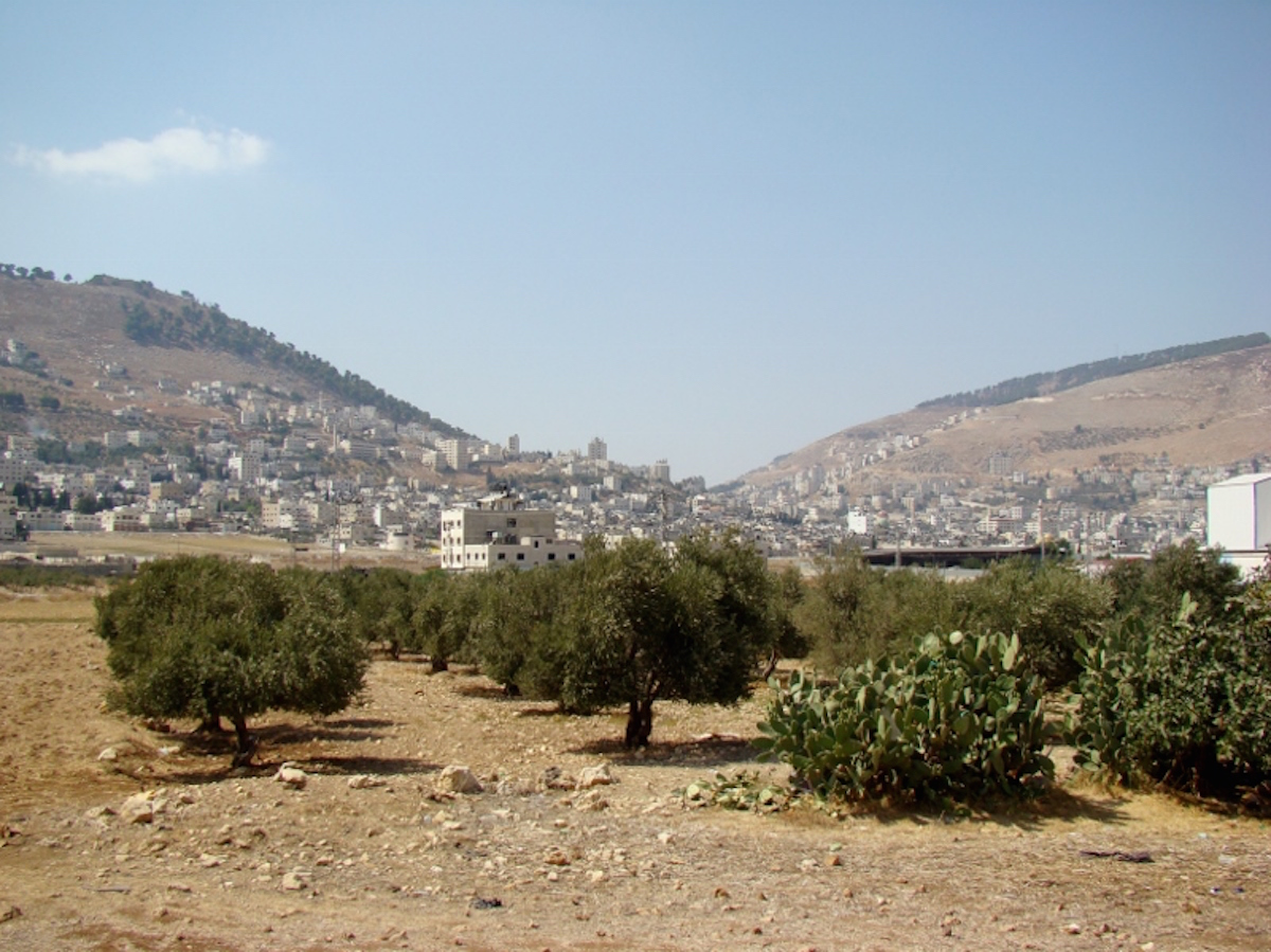 Mt. Gerizim and Mt. Ebal, the place where Moses preached the book of Deuteronomy ( Source ).