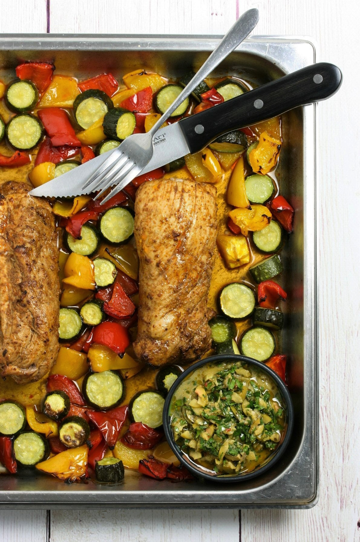 Steam oven pork tenderloin and mixed vegetables with salsa