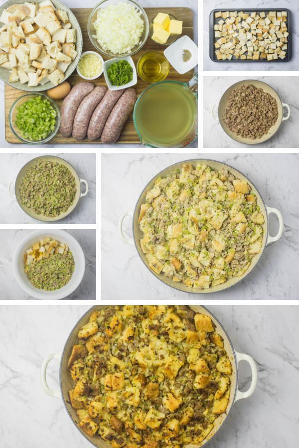 Step by step images for making sausage and herb stuffing.