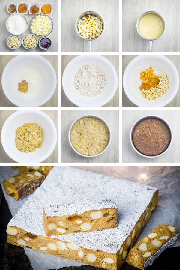 Step by step pictures for making panforte with ginger, apricots and macadamias.