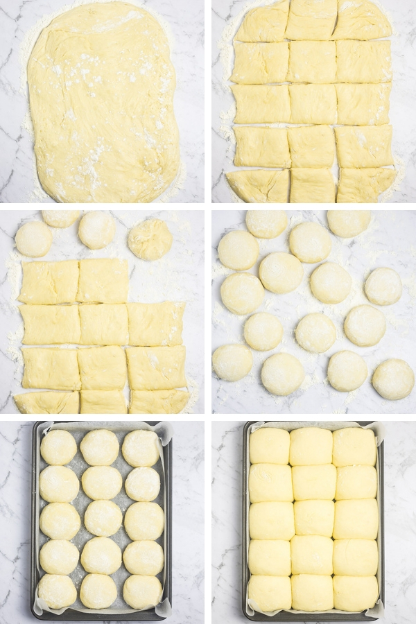 Visual steps for dividing, forming and proving easy potato rolls.