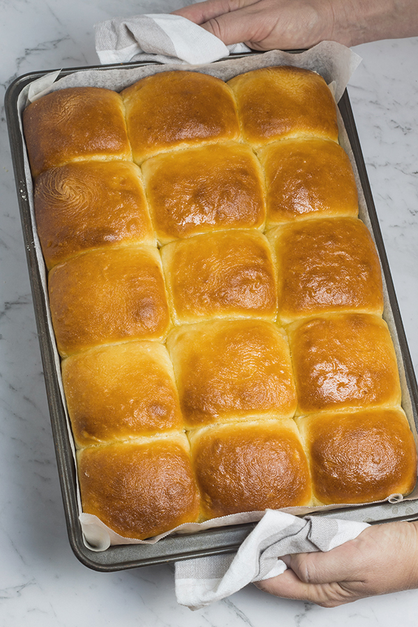 Baked easy potato rolls in the pan, brushed with melted butter for shine.