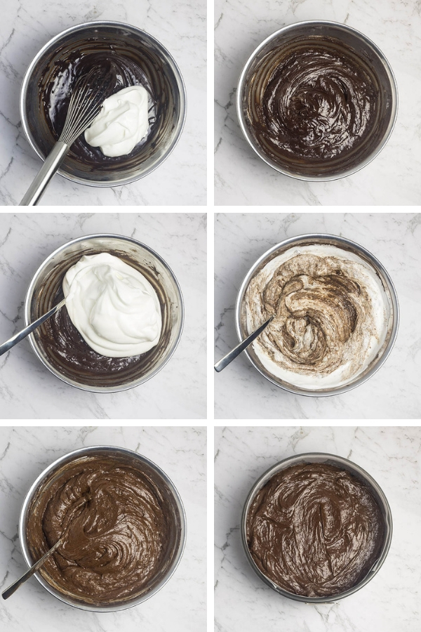 Steps for making flourless chocolate cake: folding whipped egg whites into the chocolate batter.
