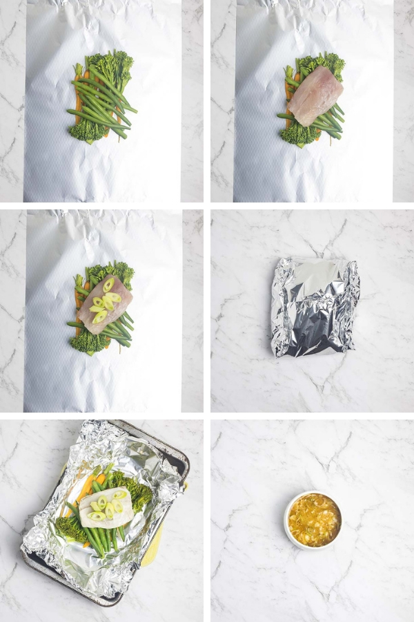 Process steps for making easy steamed fish parcels with vegetables and miso ginger dressing.