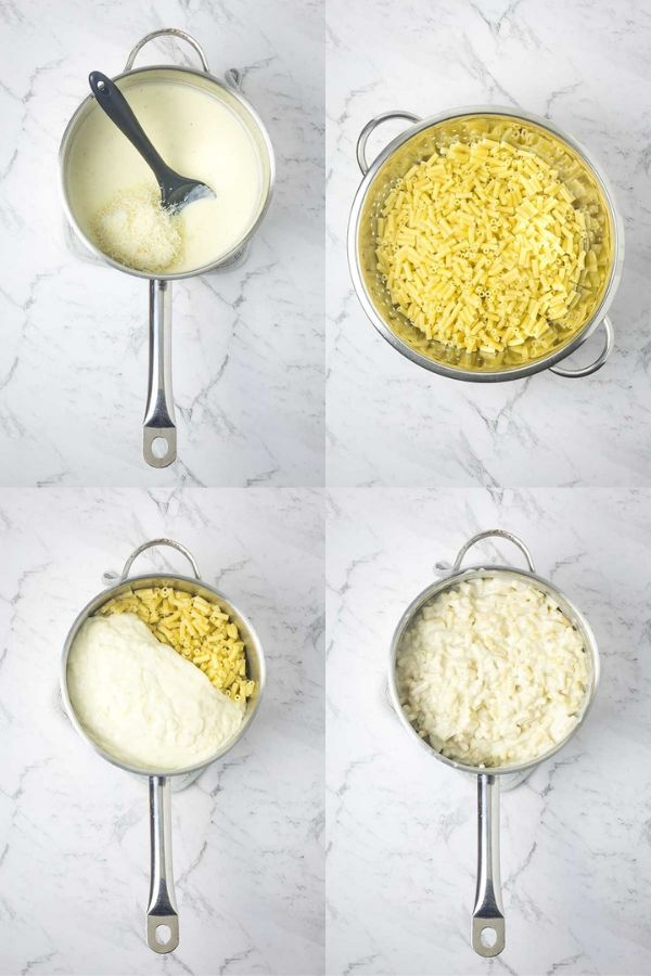 Mixing together white sauce and pasta for macaroni and cheese.