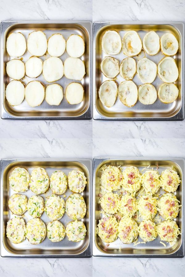 Step by step process for twice baked potatoes: halve roasted potatoes; scoop out flesh and mash with other ingredients; put mash back into potato skins; bake with cheese and bacon over the top.