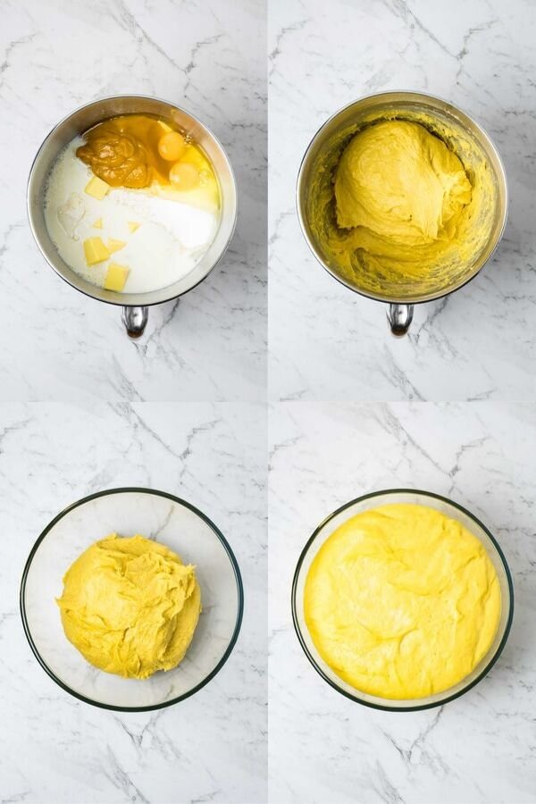 Step by step process to mix pumpkin roll dough; all ingredients into a mixer, mix until a soft dough forms, turn into a clean oiled bowl and prove until doubled in size