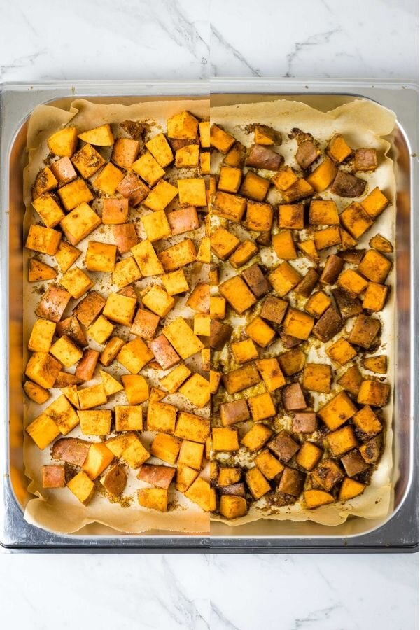 A collage of raw spiced sweet potatoes on the left and roasted ones on the right