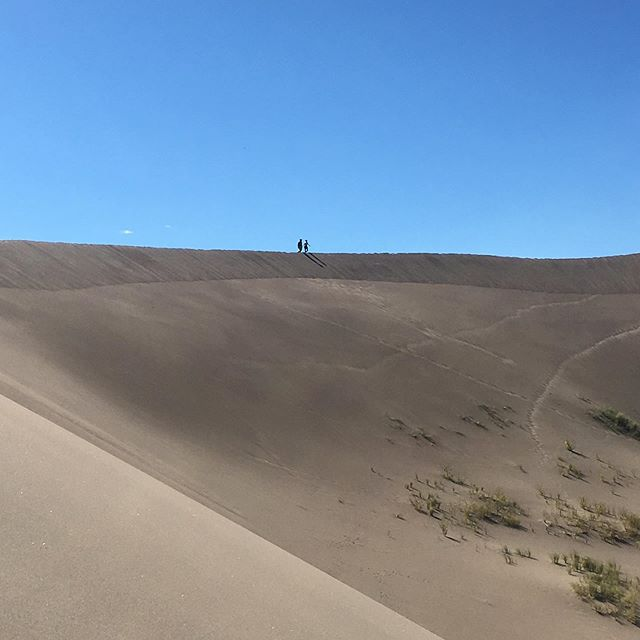 We met some peeps at the sand dunes and they sent us this photo of us. Zoom in. That was taken 15 seconds after I nearly turned back 😱 Marcus walked down to show me the ridge wasn't scary. It was steep, but it wasn't a cliff. Just comfy sand. My fear was irrational. Ok, thanks hun. So we continued onwards.