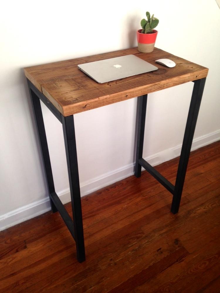 The Monterey Standing Desk Reclaimed Wood Steel Arc Timber