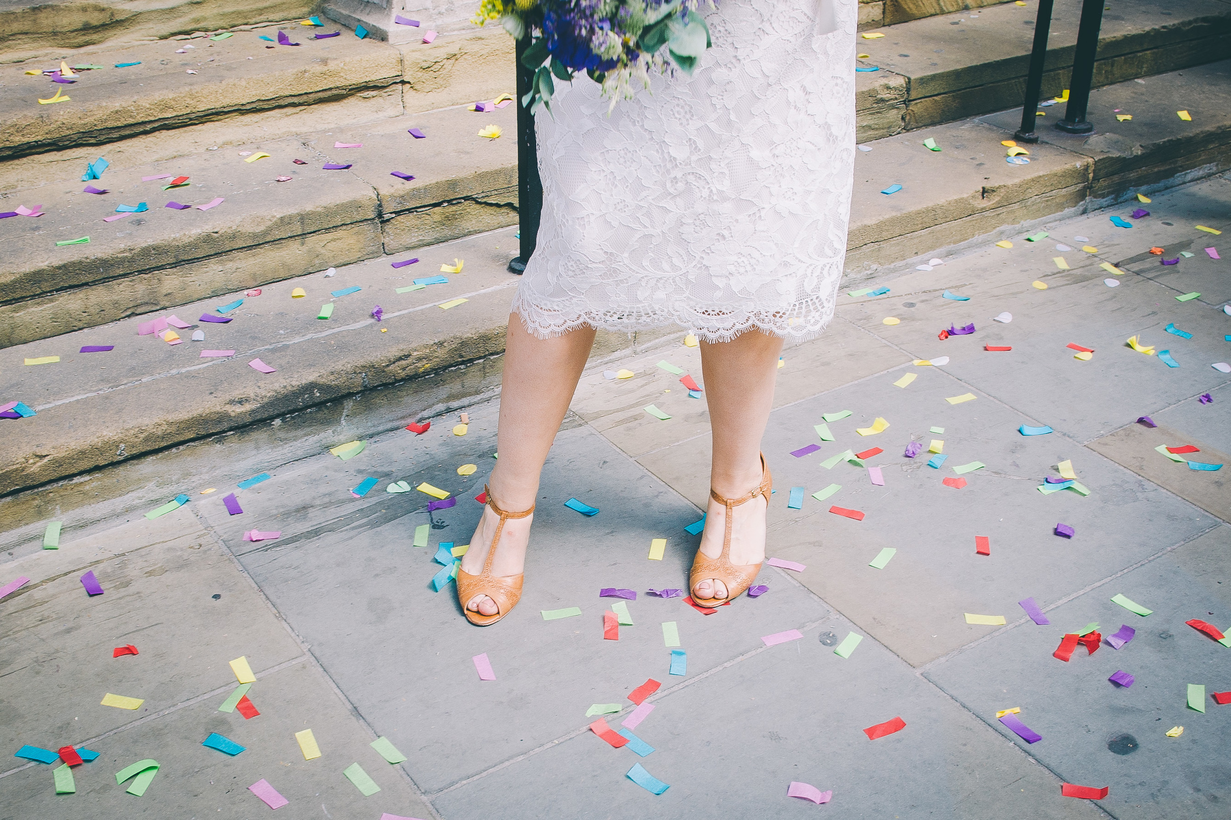 Wedding shoes and confetti