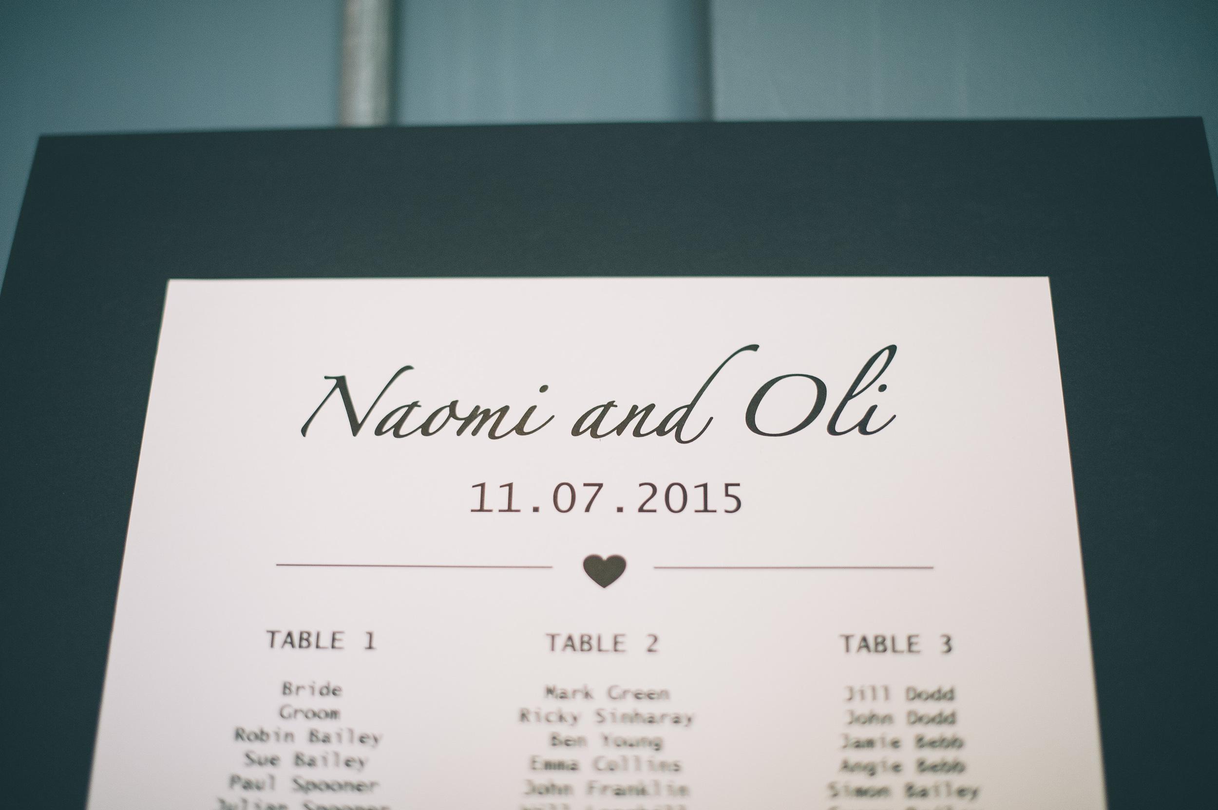 The Artisan of Clerkenwell wedding table plan