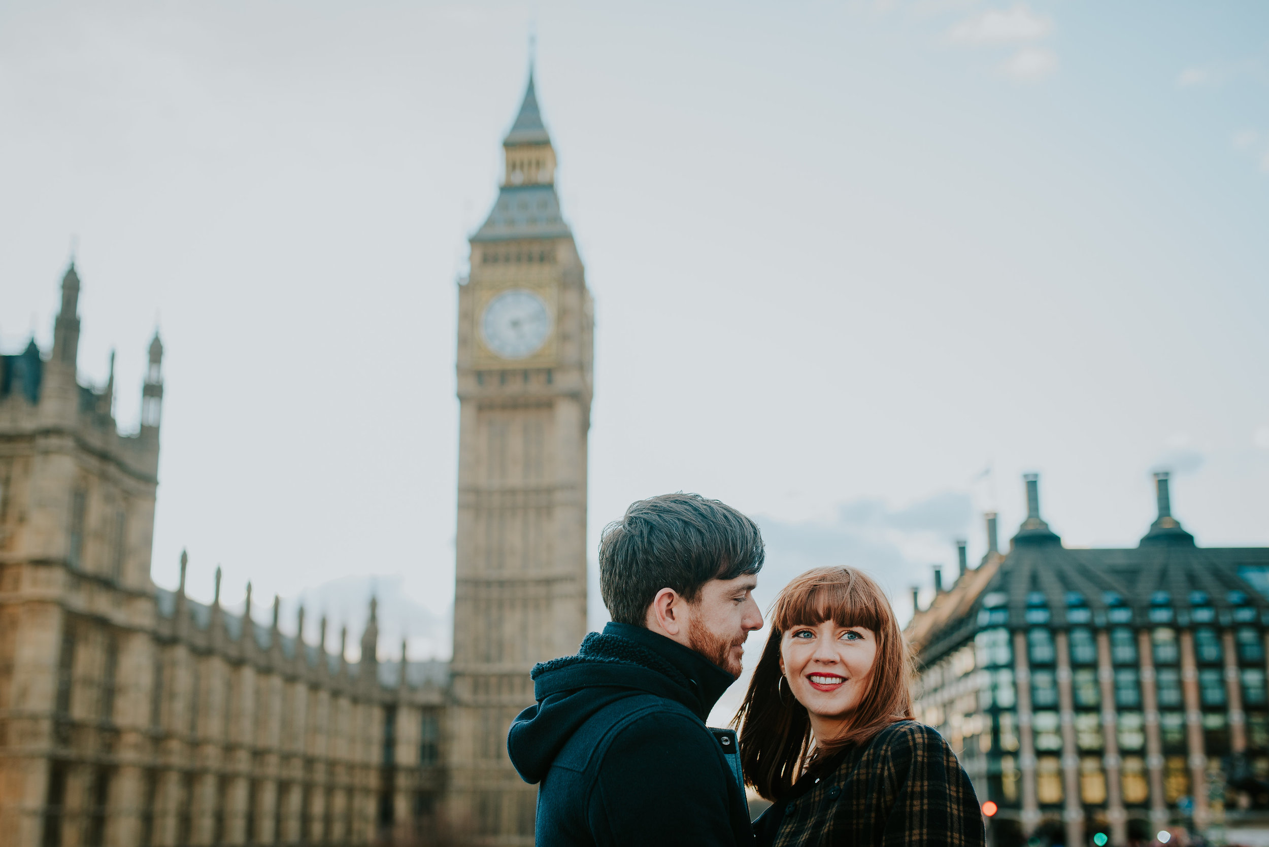 Couple in love in front of Big Ben London