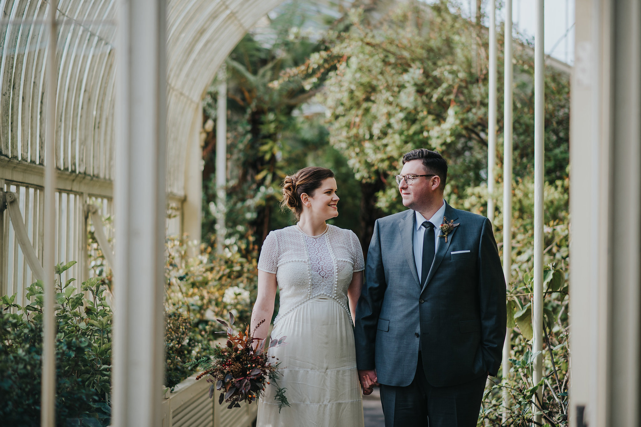 Bride and groom at the Botanic Gardens Dublin on their wedding day