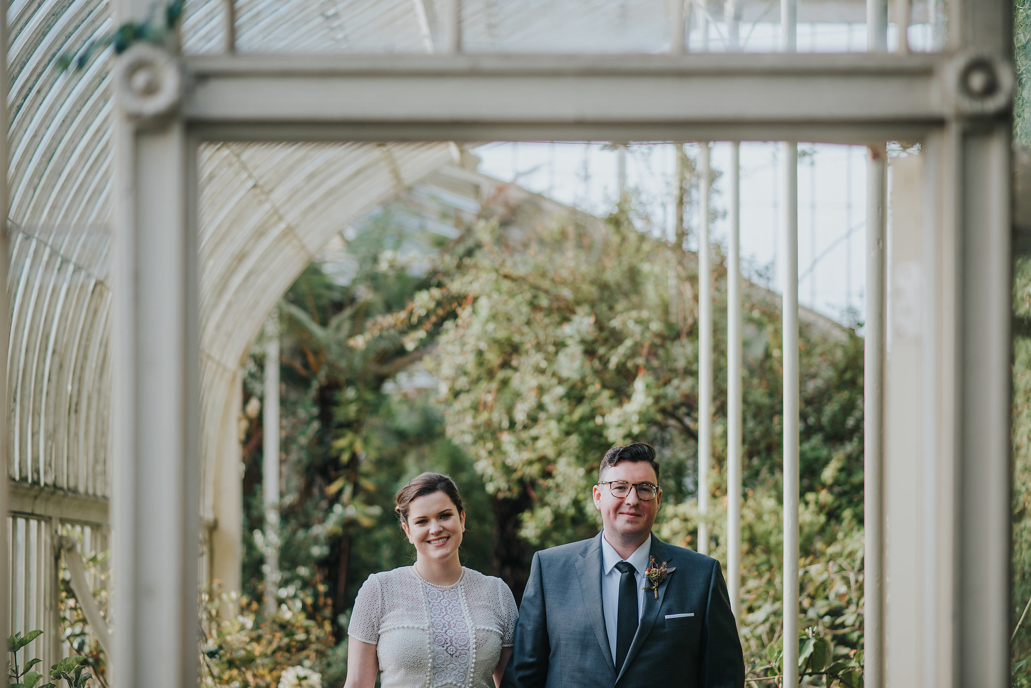 Bride and groom on their wedding day at the Botanic Gardens Dublin