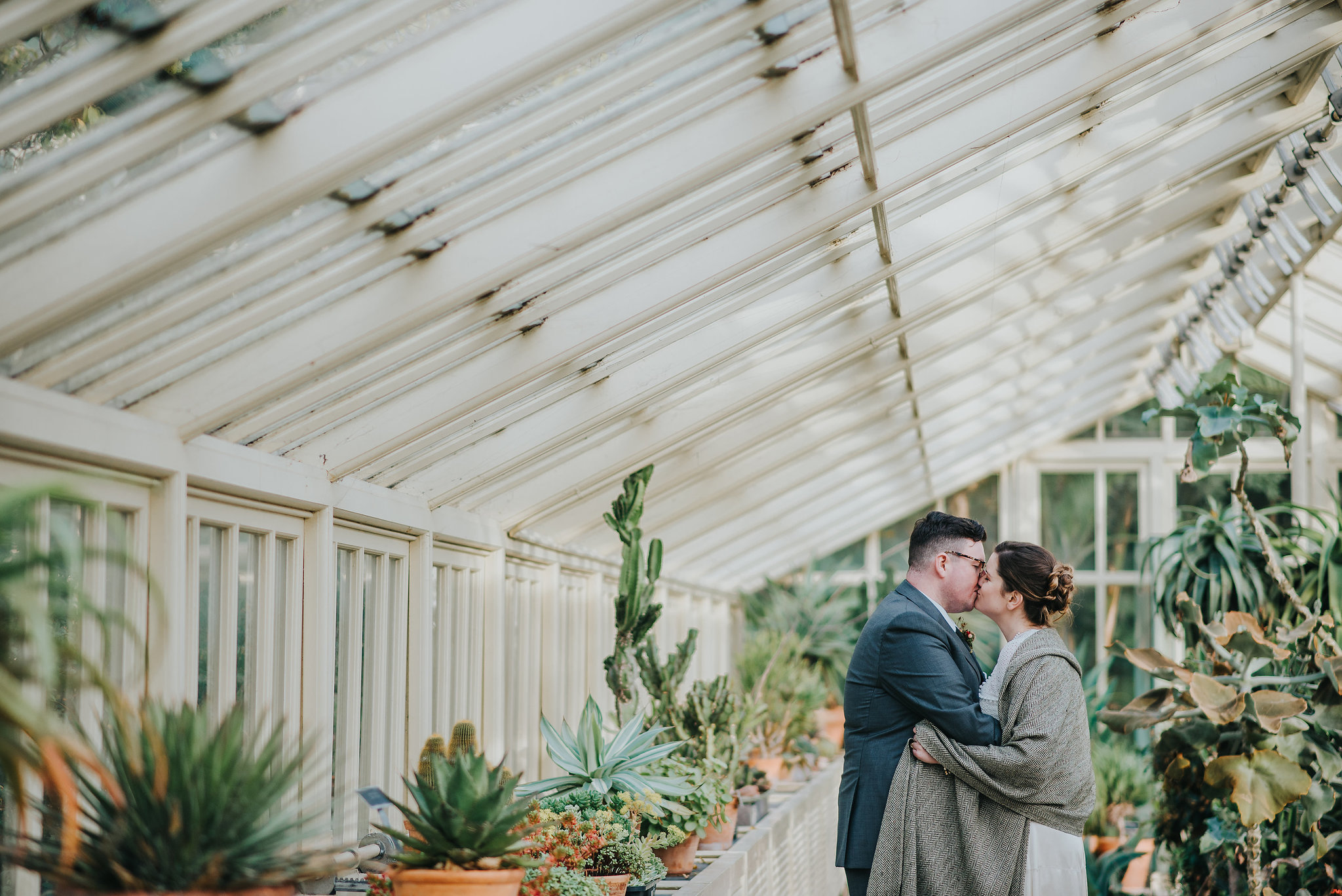 Wedding photograph of bride and groom kissing in greenhouse