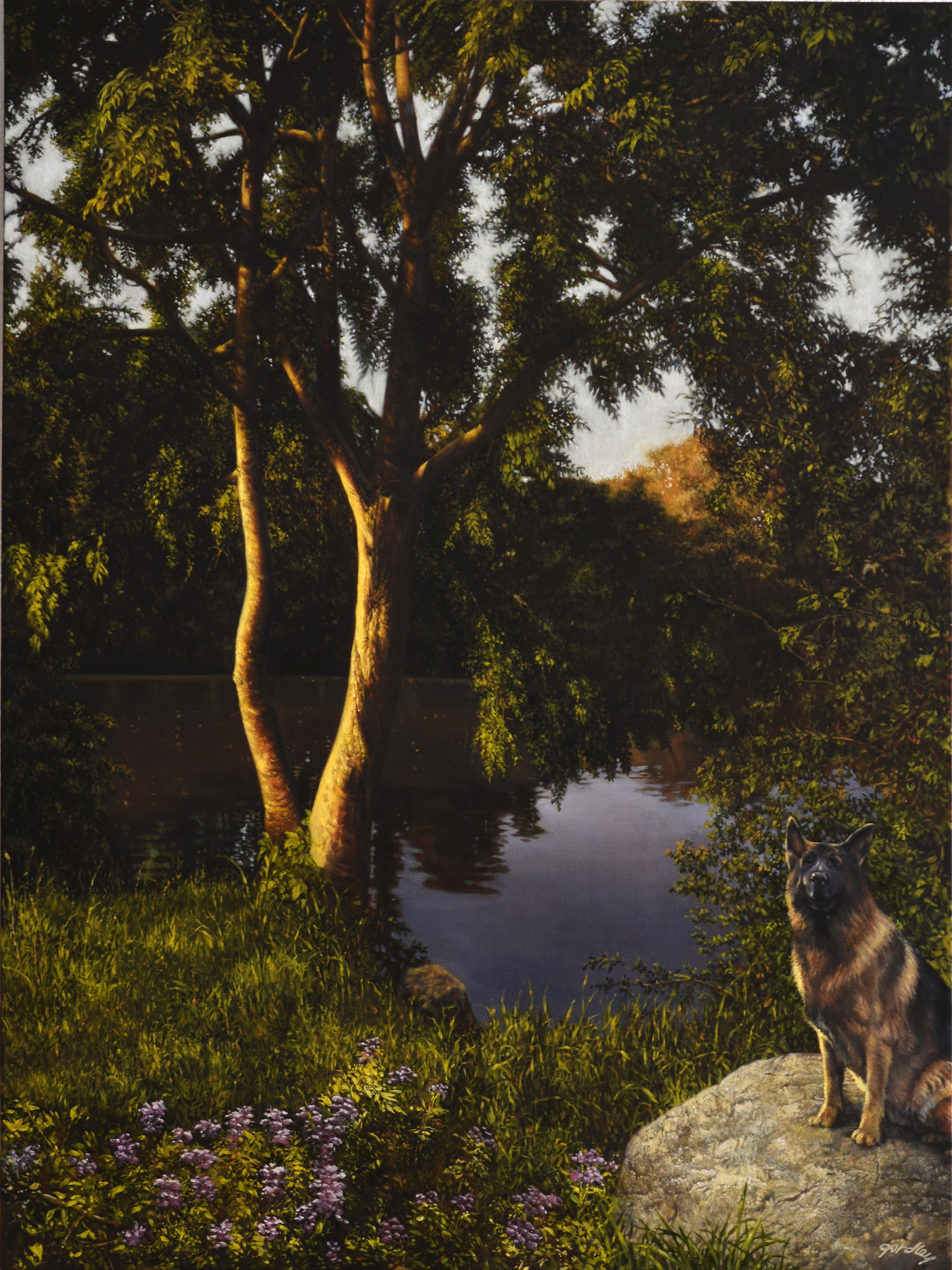 Sunset Lake, oil on canvas, 48 x 36 in.