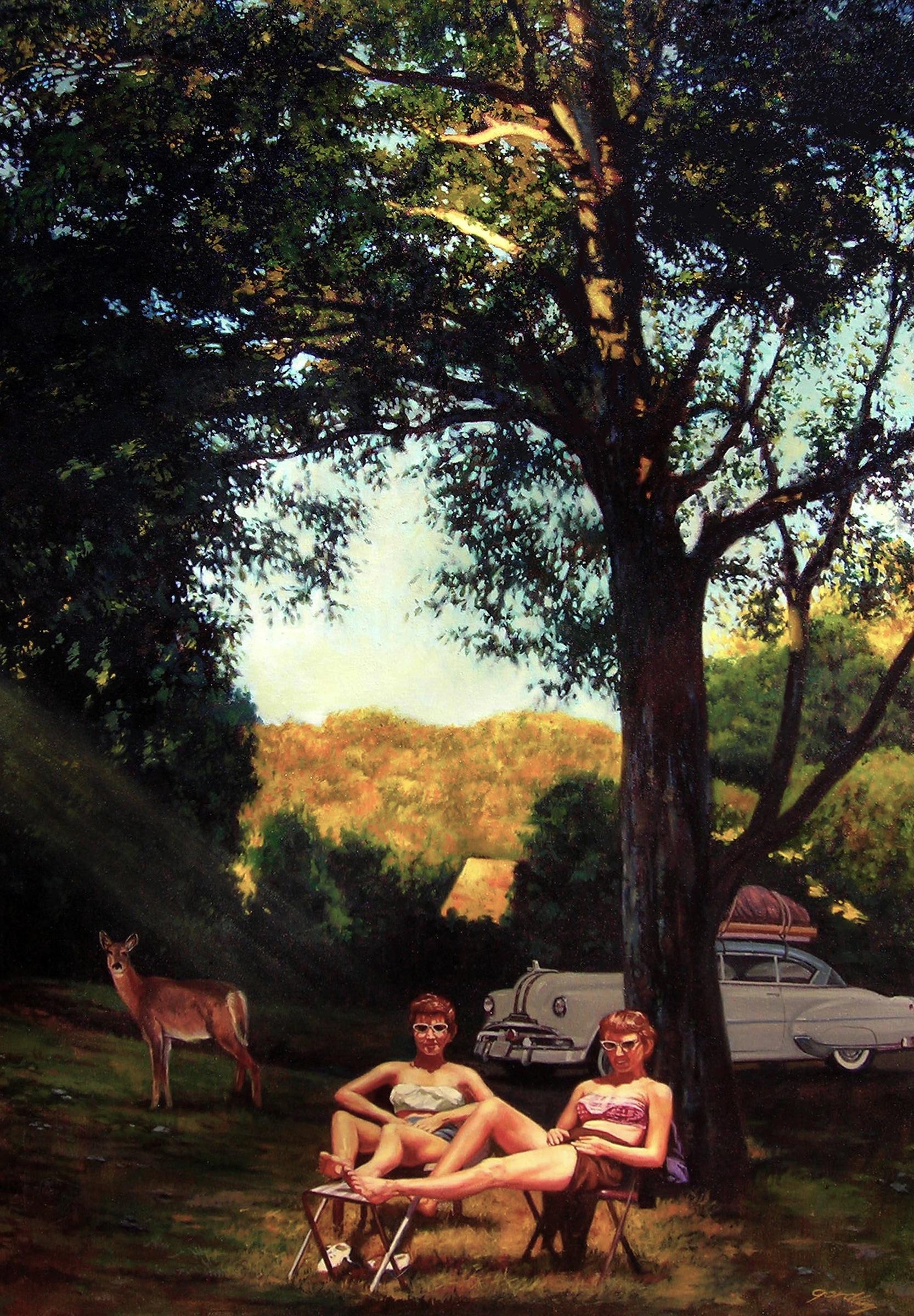 Campsite, 1958, oil on canvas, 36 x 24 in.