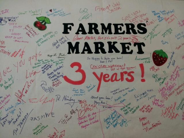 3 years in San Francisco! Fort Mason Center Farmers' Market community support banner.