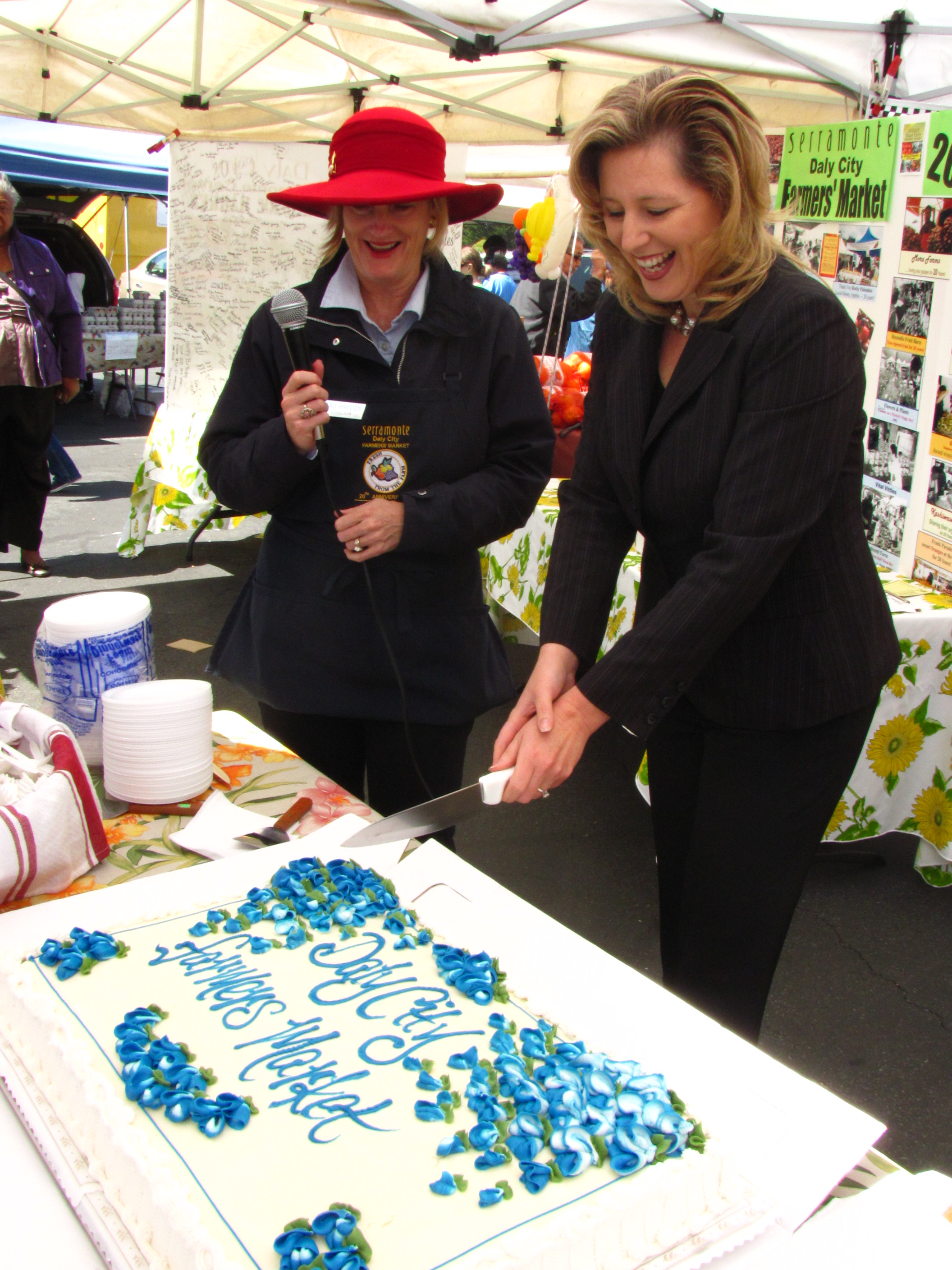 Daly City 20th Anniversary 2011 Cake cutting with Jennifer Duarte and Gail Hayden.JPG