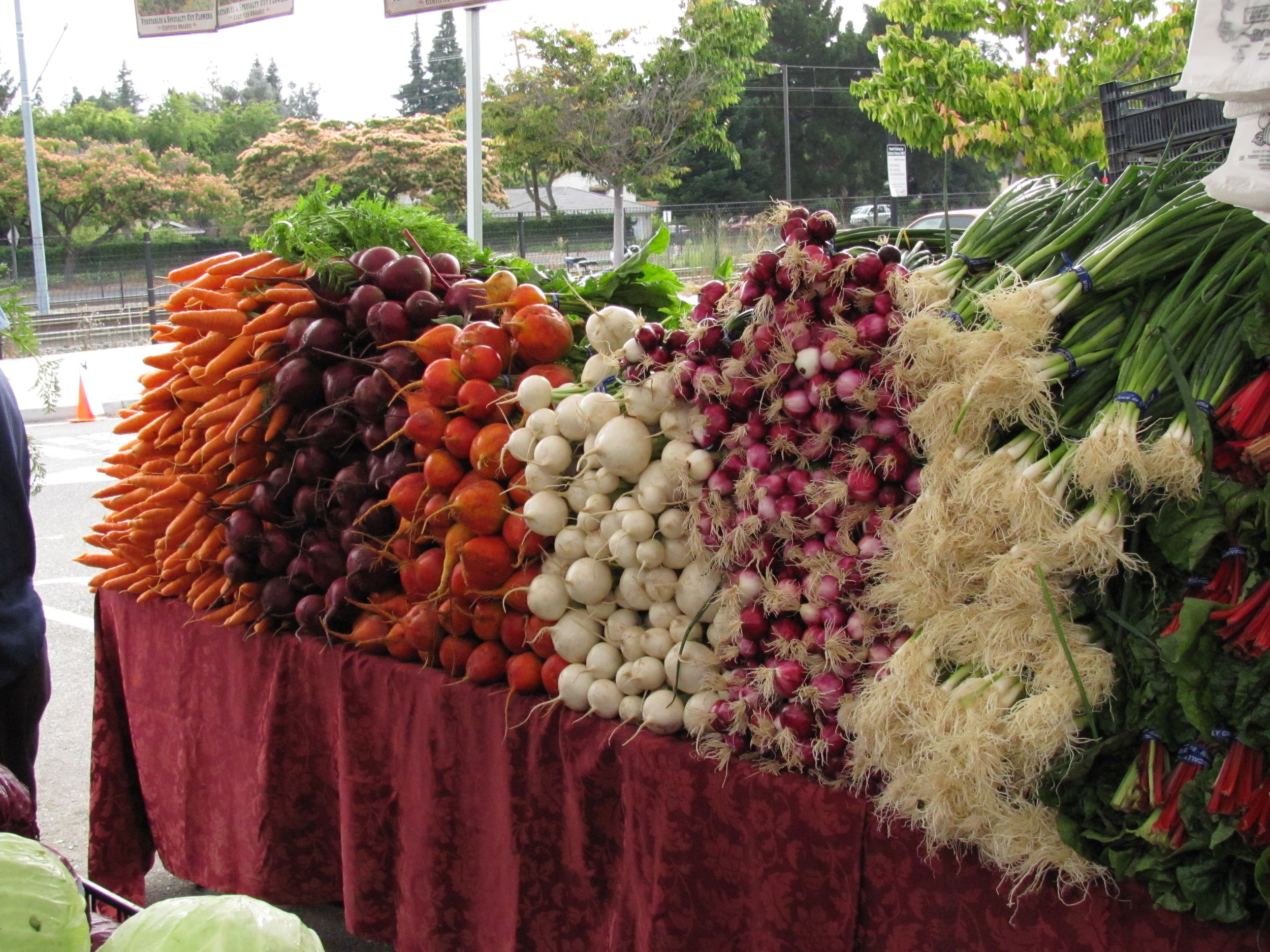 Local root vegetables at Mountain View Farmers' Market