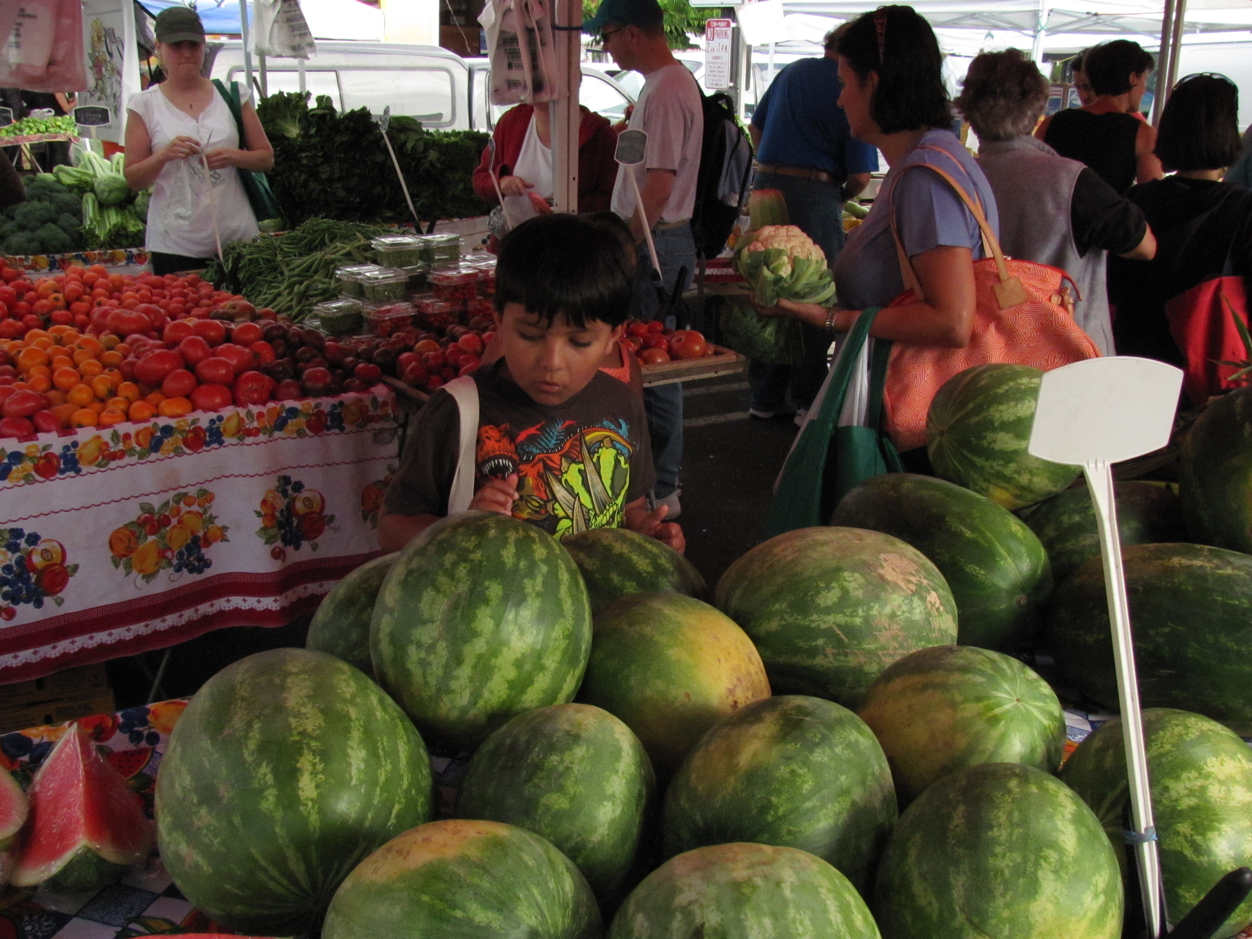 Local tomatoes and melons at Mountain View Farmers' Market