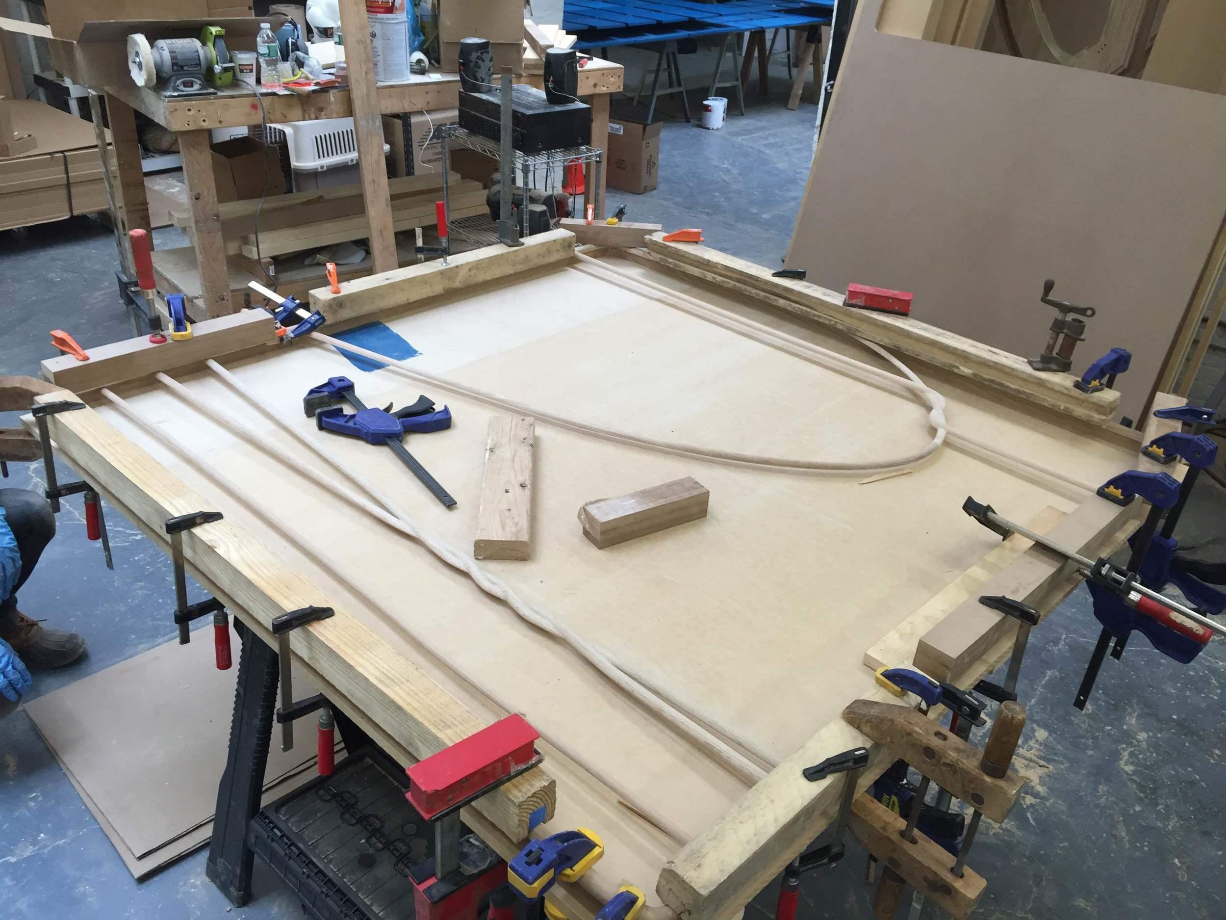 Precision glue up usingCNC registration (JasonMiller Studio).