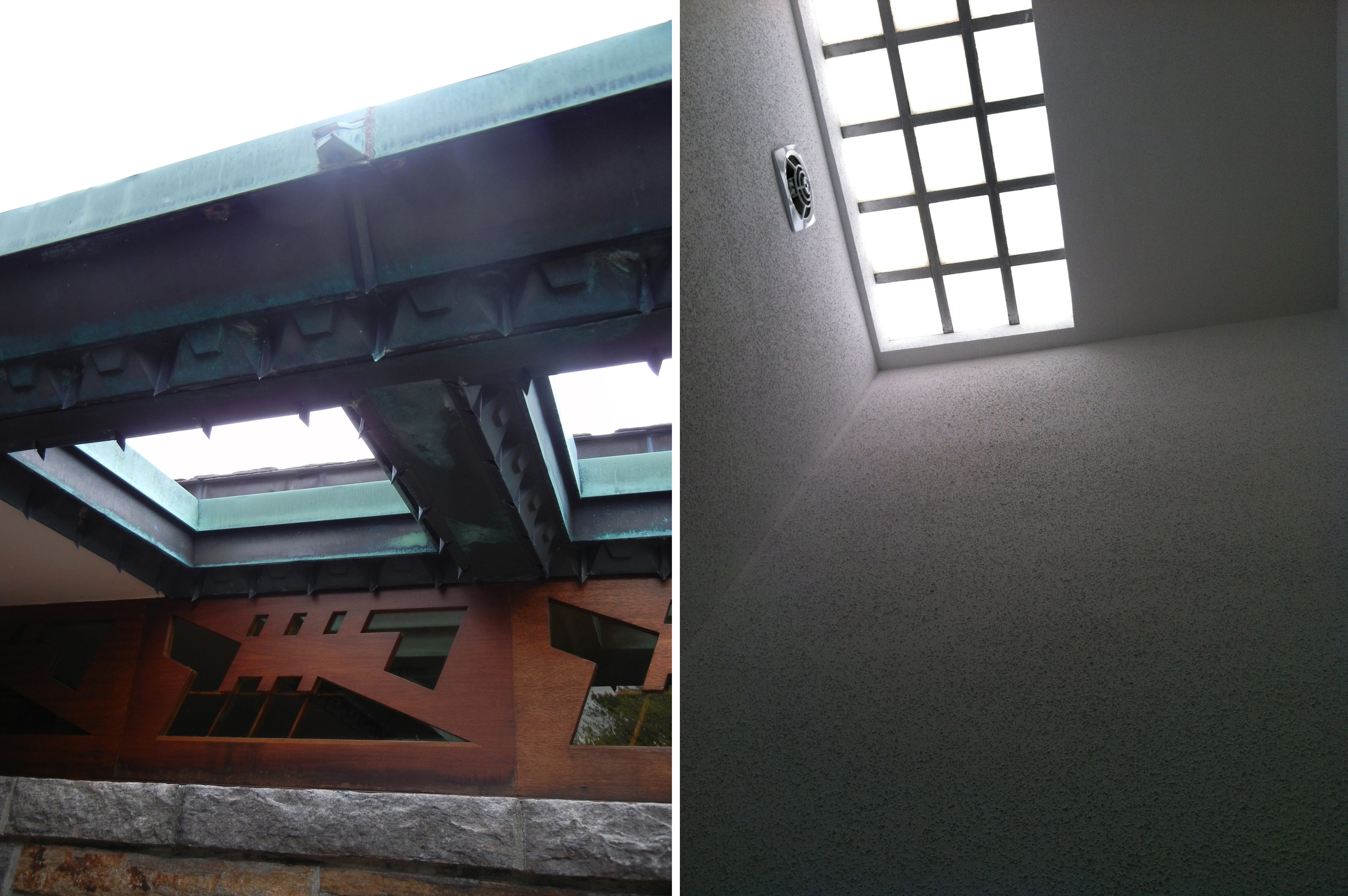 a skylight in the eaves of Frank Lloyd Wright residence and a skylight in the bathroom