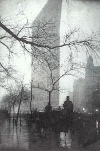Alfred Steiglitz' iconic photograph of the Flatiron shrouded in mist.