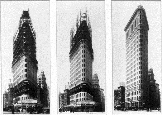The Flatiron showing construction phases of it's steel skeleton, a first of it's kind in NYC,1902 according to the New York Times.