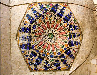 Wall  mosaic - Gaudi's Parc Guell in Barcelona