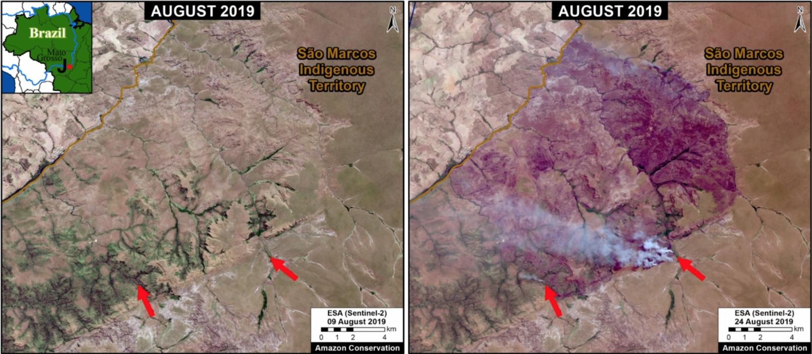 wild fire on indigenous land brazil