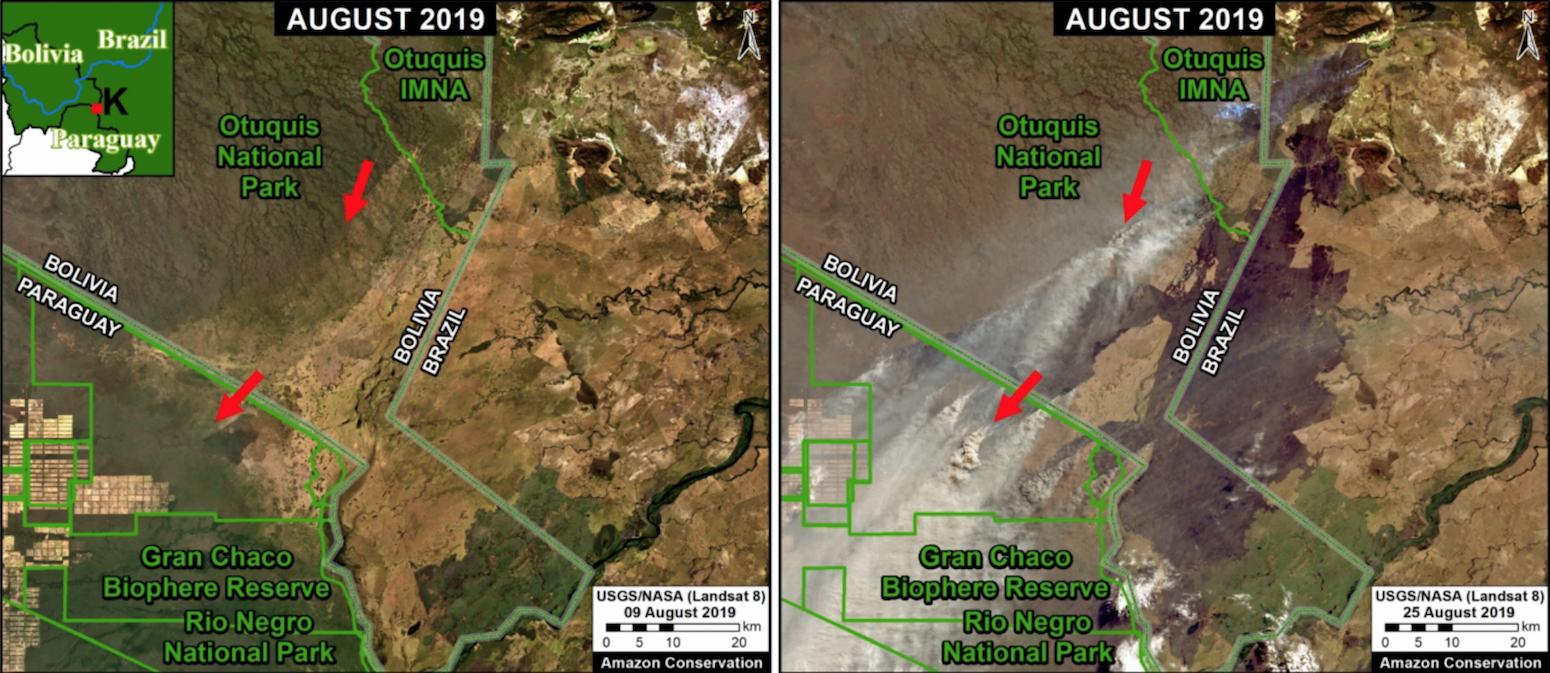 Bolivia Brazil Paraguay wildfires