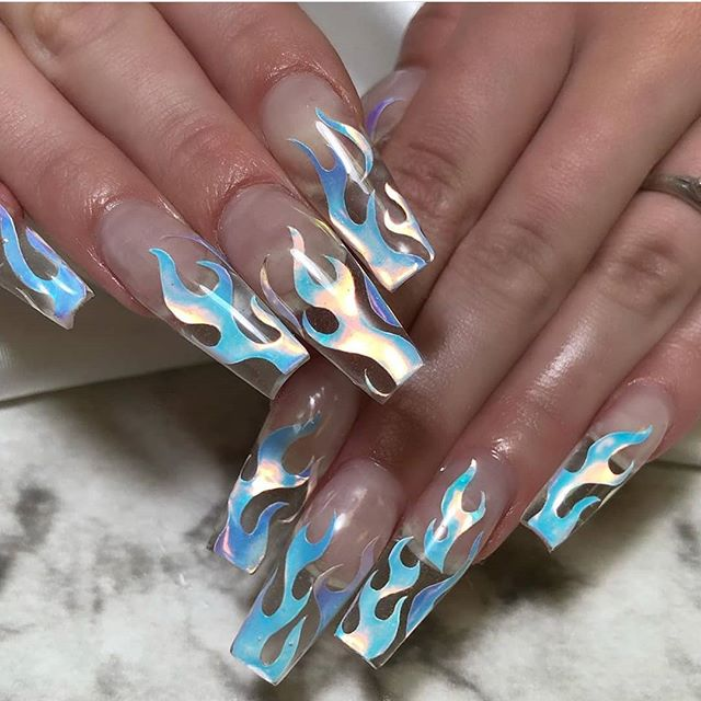 Wooo icey!! White Flames done by the talented @polishedbyher_ **TO ORDER FLAMES, PLEASS SEND DM! (WEBSITE COMING SOON!)** love when my favorite ppl make such beautiful work 💙🔥💙🔥💙🔥💙🔥💙 . . . . . . . .. . . . . . . .#nailsofinstagram #nailsrus #nailtoinspire #nailpromagazine #nailsoftheday #nailsmagazine #flamenaild #icenails #TeamValentino #valentinobeautypure #nailjunkie #bluenails #blueandpinknails