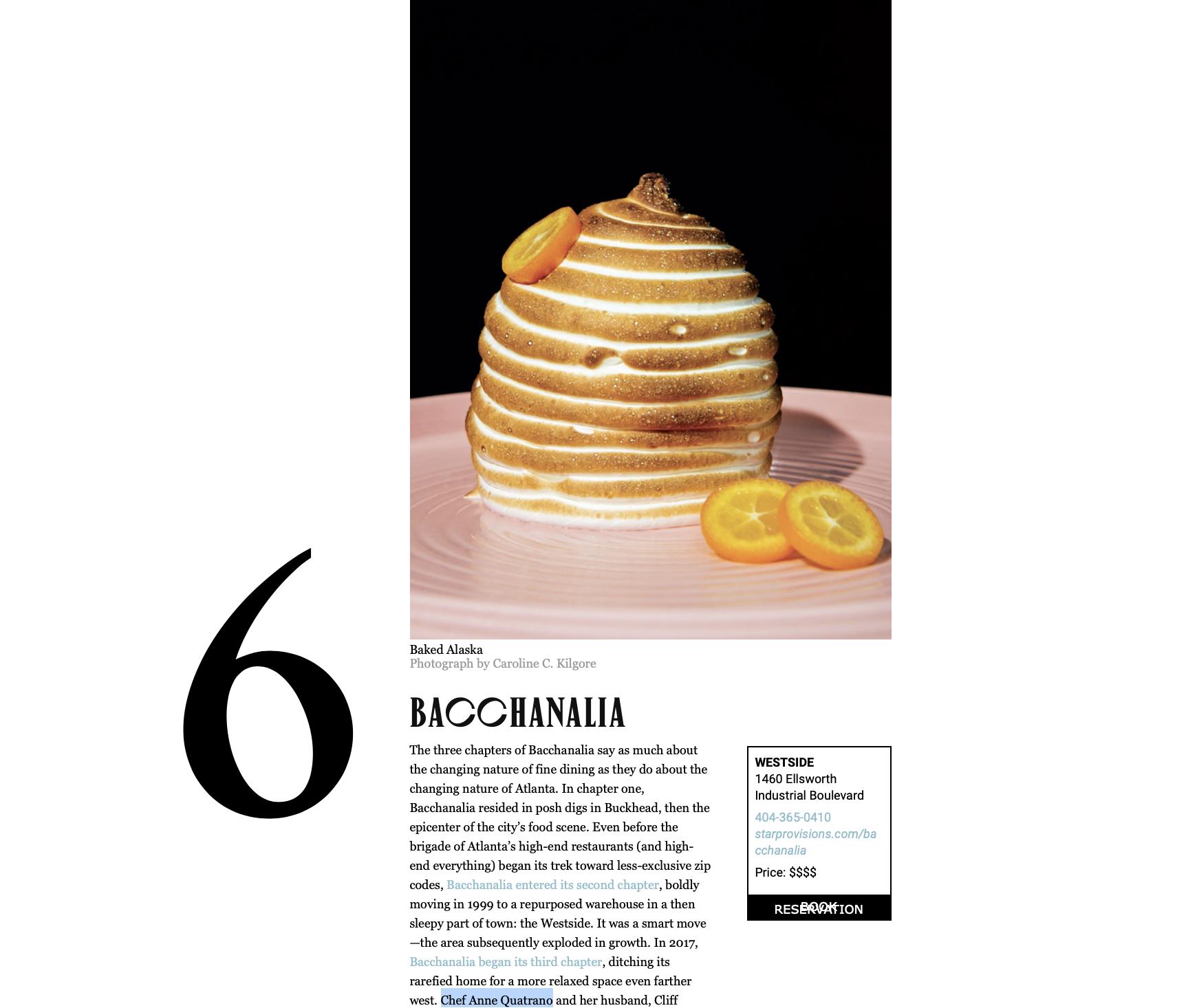 Chef Anne Quatrano Lands Two Of Atlanta Magazine S 75 Best