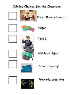 A calming-choice board in the Yogakids classroom.