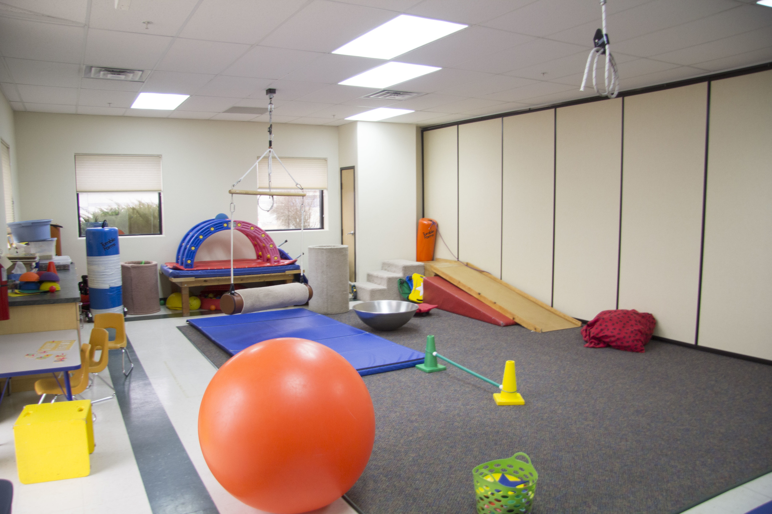 the tlc large therapy room and therapeutic equipment