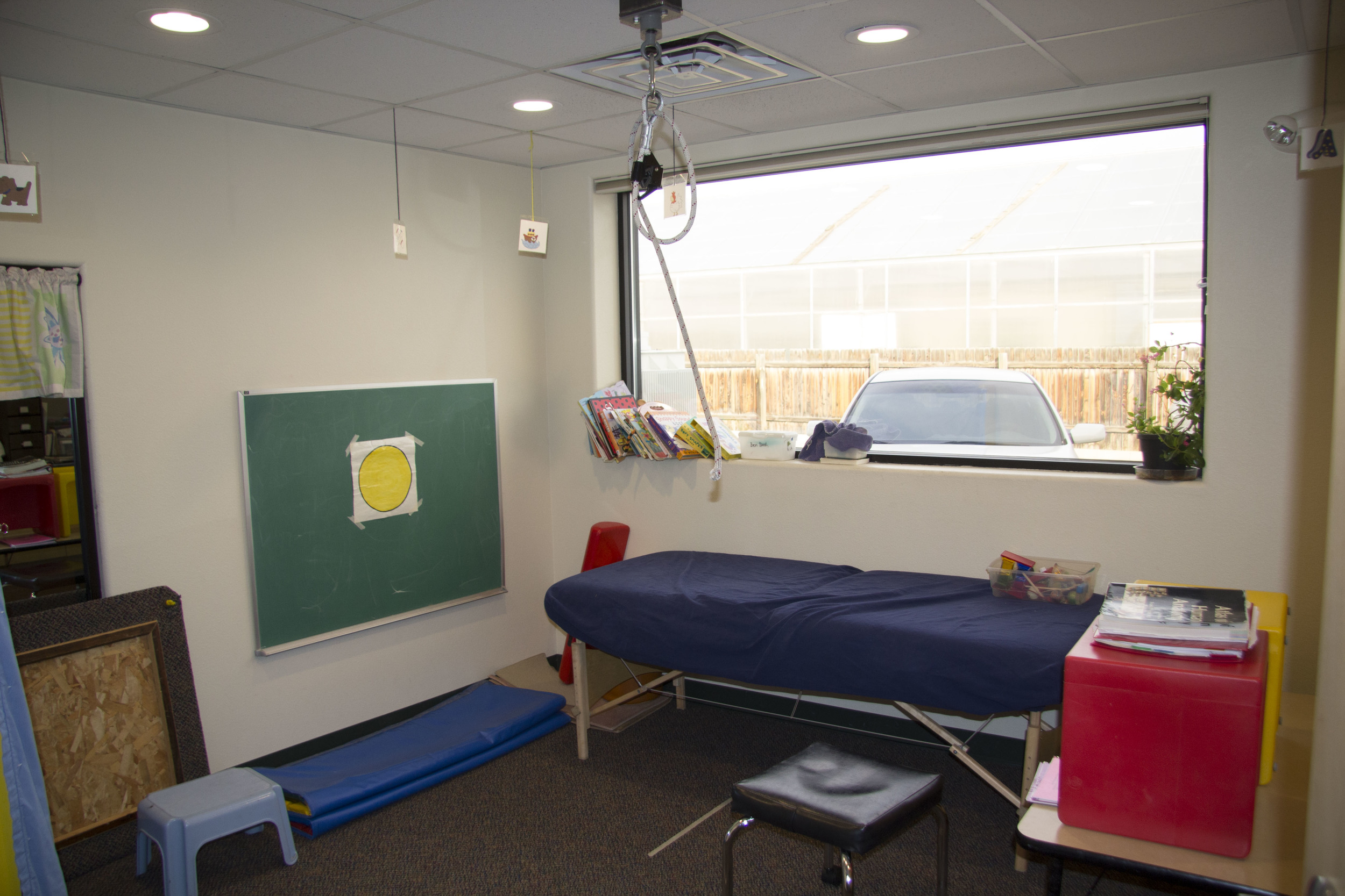 One of TLC's on-site pediatric therapy rooms, used for occupational, physical, and speech therapies