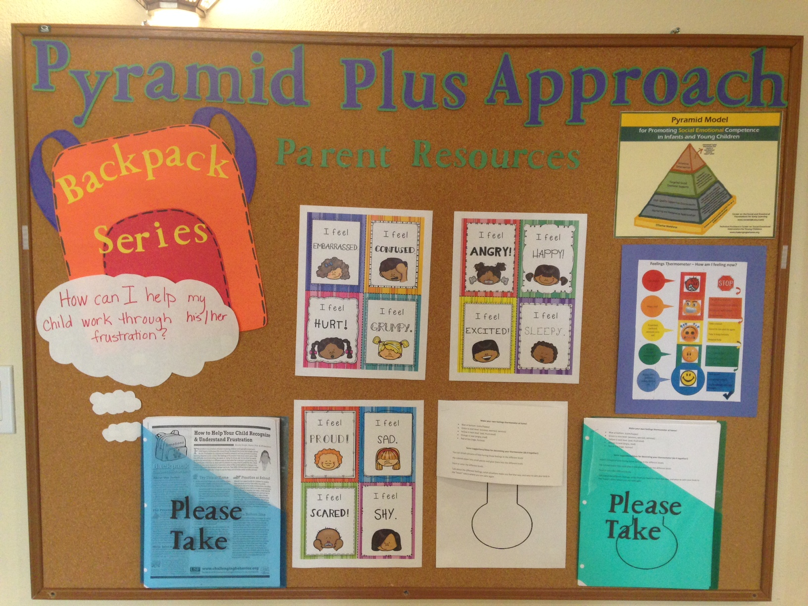 The Pyramid Plus board for parents at tlc. TLC uses pyramid plus to teach positive behavior development, including polite attention seeking