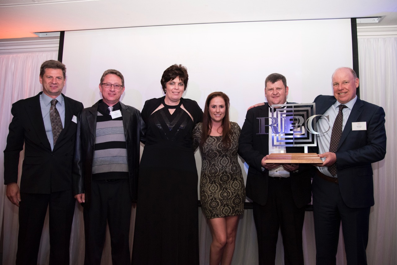 RPC Astrapak Marcom performed exceptionally well, walking away with three awards on the night. Here, they are pictured receiving the award for  QUALITY: SHEQ Site of the Year . From left:Johan Steyn (Operations Manager), Gert van der Berg (SHEQ Manager), Helmien Raath (Group SHEQ Manager), Nericha Powroznik SHEQ Student), Gerhard van Reenen (General Manager) and Robin Moore (Group CEO).