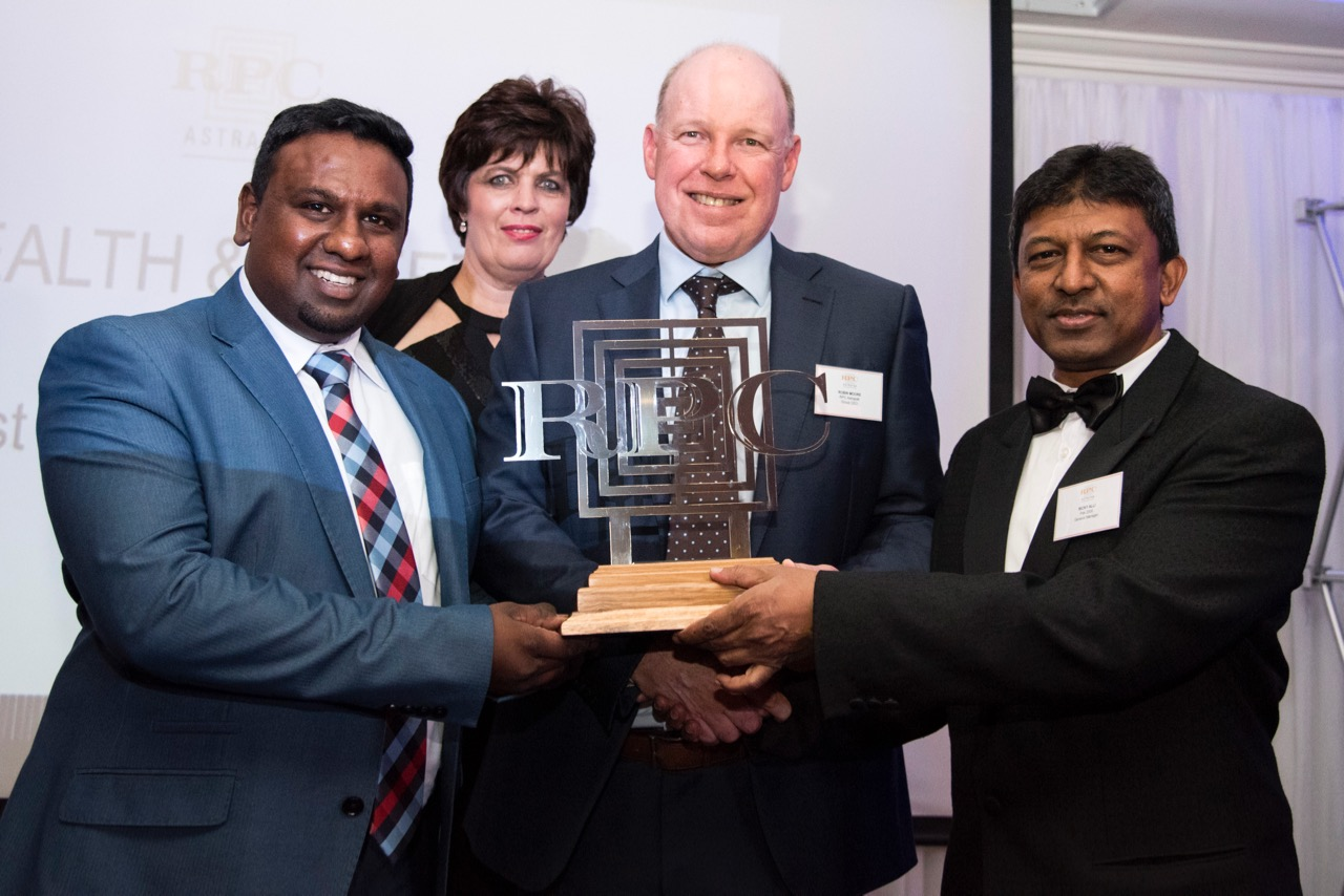RPC Astrapak Pak 2000 were awarded for  Most Improved Site  in the  HEALTH & SAFETY  category, from left: Silvanus Pillay (Site Services Manager), Helmien Raath (Group SHEQ Manager), Robin Moore (Group CEO), Ricky Alli (General Manager).